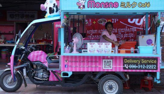 プノンペン、北海道産の牛乳を使った移動式カフェが大人気